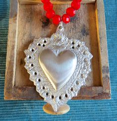 My BELOVED- Large Ex Voto Sacred Heart Milagro Necklace- A must for your jewelry collection New Charmed, Red Jewelry, Sacred Heart, Czech Glass Beads, Heavy Metal, Jewelry Collection, Crochet Earrings, Artisan, Hearts