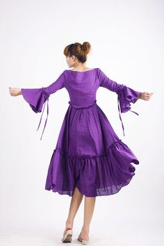 Color - purple linen long dress. $65.00, via Etsy.