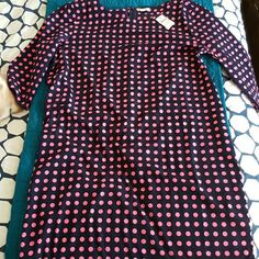 Size L Navy and Pink polka dot dress. Brand new. Never worn. 3/4 sleeve. Light and airy. GAP Dresses Midi