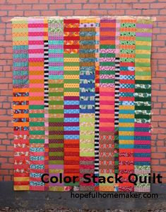 Color Stack Quilt Tutorial - A Jelly Roll Quilt Pattern - Hopeful Homemaker - Autumn is full of color, and I had to make a quilt to celebrate it before the season ends. I deci - Stripe Quilt Pattern, Scrap Quilt Patterns, Striped Quilt, Hexagon Quilt, Striped Fabrics, Jellyroll Quilts, Scrappy Quilts, Easy Quilts, Amish Quilts