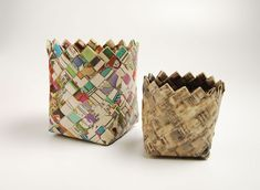 DIY Recycled Woven Paper Basket DIY Tutorial to create a paper woven basket from newspapers. A great recycling project that can easily be made with very little expense. Recycled Paper Crafts, Recycled Magazines, Handmade Crafts, Handmade Rugs, Paper Basket Weaving, Fun Crafts, Arts And Crafts, Origami, Pot A Crayon