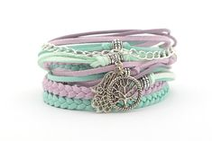Summer Yoga Bracelet, Tree of Life Wrap Bracelet, Hand Hamsa Bracelet,  Mint Lilac Boho Gypsy Bracel