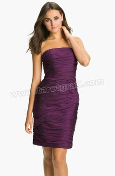 Purple Strapless Ruched Chiffon Dress
