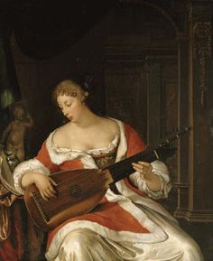 Eglon Hendrick van der Neer (Amsterdam, c.1634 - Düsseldorf, 1703) - Vrouw speelt luit
