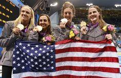 U.S. Women's swimming relay team wins gold!  Dana Vollmer, Rebecca Soni, Allison Schmitt, and Missy Franklin win the women's 4x100 meter relay.