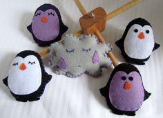 Purple Penguins Felt Mobile