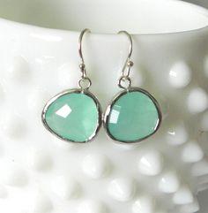 Mint glass earrings elise modern delicate by LemonSweetJewelry, $18.00