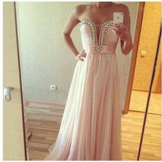 2014 New Pink Chiffon Prom Dresses Long Formal Evening Cocktail Party Ball Gown