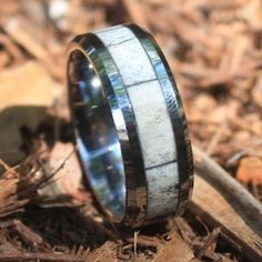 MADE AND SHIPPED IN 3-5 DAYS - Tungsten Deer Antler Wedding Ring with Beveled Edge - Color - Mixed White/Natural Grain