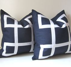 Set of Two - Navy Blue Pillow Covers - 18 inch - Decorative Pillows - White Ribbon - euro sham - navy and white - ready to ship.