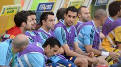 RIO DE JANEIRO, BRAZIL - JUNE 20: Xavi Hernandez of Spain and Alvaro Arbeloa look on from the bench prior to the FIFA Confederations Cup Brazil 2013 Group B match between Spain and Tahiti at the Maracana Stadium on June 20, 2013 in Rio de Janeiro, Brazil. (Photo by Michael Regan/Getty Images)
