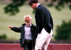 Prince Charles and Prince Harry larking about in 1992