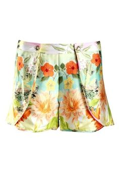 Turquoise and Gold pleated flower power print shorts : Rs. 13,250/- http://www.findable.in/turquoise-gold?=12| Findable.in