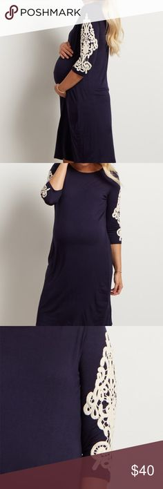 PinkBlush Navy Blue crochet-sleeve dress Brand new with tags. Beautiful dress with crochet detailing on the sleeves, scoop neckline enrich this comfortable shift dress with feminine flair!!!! Super comfortable and stretchy to fit the growing bump  ***listed as motherhood maternity but it is Pink Blush Maternity*****  Motherhood Maternity Dresses Maxi