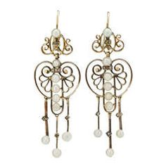 Victorian Openwork Earrings with Pearl Drops