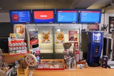 Teboil -gas station chain uses Seasam digital signage to promote menu items  and car wash services.