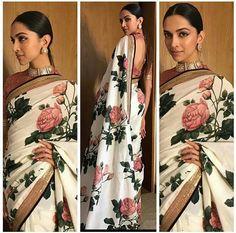 New ideas for bridal saree blouse designs deepika padukone Floral Print Sarees, Saree Floral, Sabyasachi Sarees, Anarkali, Khadi Saree, Bollywood Saree, Bollywood Fashion, Bollywood Celebrities, Indian Sarees