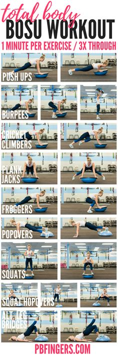 A total body BOSU workout that targets the upper body, core and lower body with exercises including push ups, squats, cricket climbers!