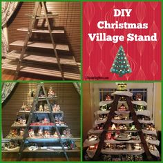 "DIY Christmas Village Stand She used a ladder and then added boards that she wrapped in gift wrap. She added cotton ""snow"" and you could also add extra lights if you want. Christmas Tree Village Display, Christmas Villages, Christmas Home, Christmas Holidays, Christmas Ornaments, White Christmas, Christmas Mantles, Christmas Hacks, Victorian Christmas"