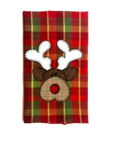 Christmas Tea Towel, Christmas Reindeer Applique Kitchen Towel, Dish Towel, Hand…