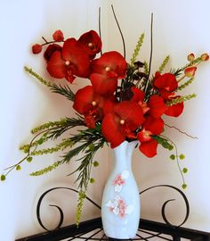Silk Brick Red Orchid Floral arrangement by FloralDesignsByAlka, $25.00