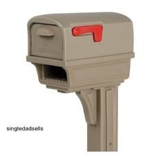 Rubbermaid GC1M0000 Large Deluxe Plastic Mailbox and Post Combo, Mocha #Rubbermaid