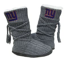 NFL NY Giants Womens Cable Knit Slippers