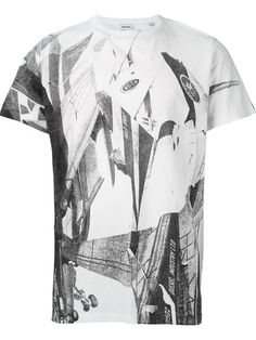 Shop Diesel printed T-shirt    in Jean Pierre Bua from the world's best…