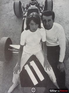 James Garner & Francoise Hardy sitting on a BRM replica (c.1966, Duffy)