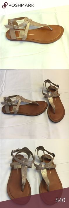Dolce Vita Gold T-strap Sandals Gold Dolce Vita T-strap Sandals  Size 8.5 Worn twice, condition like new Dolce Vita Shoes Sandals
