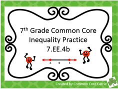 This product includes three activities and an exit slip. For the first activity, the focus is on students writing and solving inequalities. Students are also asked to describe their solutions for each problem. This activity works well with partners.