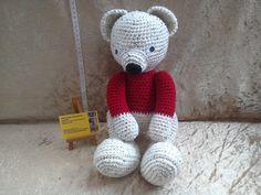 White crochet teddy bear big crochet bear by kingsnqueenscrochet