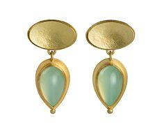 Junction Art Gallery - 18 carat gold double oval earstuds Andean opal drop £1,825.00 www.junctionartgallery.co.uk
