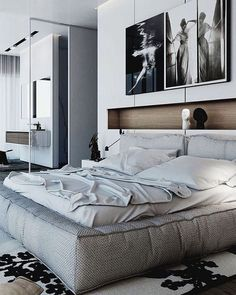 'Minimal Interior Design Inspiration' is a weekly showcase of some of the most perfectly minimal interior design examples that we've found around the web - all Diy Home Decor Bedroom, Modern Bedroom Furniture, Modern Bedroom Design, Luxury Home Decor, Modern House Design, Luxury Homes, Bedroom Ideas, Bedroom Loft, Master Bedrooms