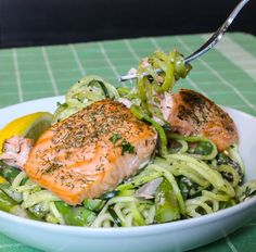 Baked Salmon with Creamy Lemon Dill Pasta. Salmon was great, but pasta was missing something.  Also a challenge to adjust from single serrving to feeding a family of six.