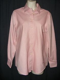 Orvis Wrinkle Free Pink Button Front Long Sleeve Cotton Blend Career Shirt Top 6