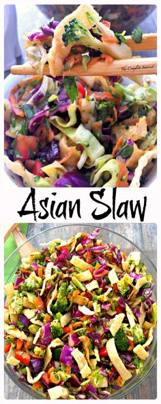 Asian Slaw The Complete Savorist Crunchy Veggies Tangy Dressing and Crispy Wonton Strips Asian Slaw The Complete Savorist Crunchy Veggies Tangy Dressing and Crispy Wonton Strips Vegetarian Recipes, Cooking Recipes, Healthy Recipes, Ensalada Thai, Healthy Salads, Healthy Eating, Wonton Strips, Crispy Wonton, Clean Eating