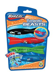 Bansai Torpedo Beasts Pool Dive Toy - Red/Black/Blue/Green Review Pool Toys, Red Black, Diving, Beast, Blue Green, Swim, Scuba Diving, Duck Egg Blue, Swimming