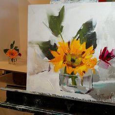 Workshop demo sunflower oil painting still life by Alabama artist Gina Brown www.GinaBrownArt.com