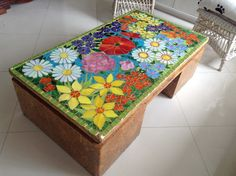 Refurbished Furniture, Painted Furniture, Mosaic Furniture, Tile Tables, Mosaic Madness, Mosaic Ideas, Mosaic Art, Superman, Decoupage