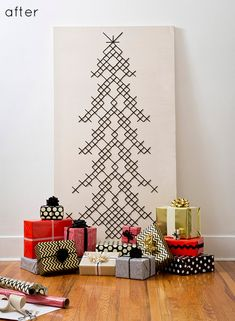 Before & After: Holiday Contest Finalists | Design*Sponge @Michelle D. Idea for next year, cross-stitched tree