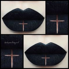 † Personal Jesus † (one of my favorite songs by Depeche Mode) Inspiration is from my new creepers and also from a cross lip art look I did a very long time ago but reversed the colors here. @lasplashcosmetics Venom Liquid Matte. @nyxcosmetics Wonder Pencils and @occmakeup Sybil Colour Pencil.