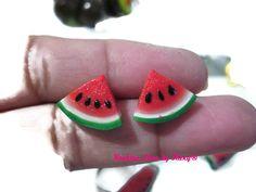 Watermelon earrings post :3! Polymer clay miniature food Cute !! Charms handmade jewelry food clay de KookiesLovebyKary en Etsy