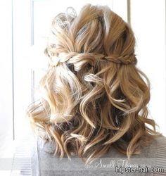 curled hair with braid