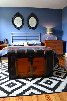 Paint colors that match this Apartment Therapy photo: SW 2839 Roycroft Copper Red, SW 6537 Luxe Blue, SW 6258 Tricorn Black, SW 6809 Lobelia, SW 7672 Knitting Needles