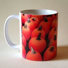 Pumpkins ceramic mug farmer's market auyumn by RVJamesDesigns