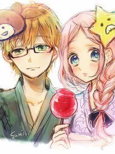 日々蝶々 Anime Sweet Couple, Manga Couple, Anime Couples, Cute Couples, Hibi Chouchou, Red Hair Blue Eyes, Narusaku, Flower Boys, Anime People