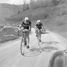 Ferdi Kubler (in front) and Martin Metzger, stage 1 - Tour de Romandie 1951. The stage was won by Kubler, Metzger was second.