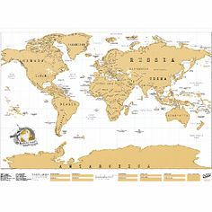 Scratch World Map: Follow your travels across the world with the scratch world map. Featuring a gold foil top layer, remove the gold foil to reveals amazing facts about our world. Packaged in a super high quality matte finish tube.