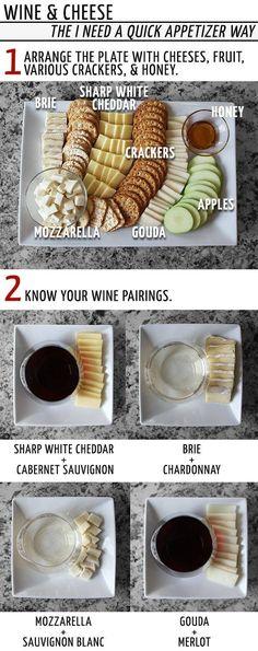 • CHEESE & WINE PAIRINGS • 1) sharp white cheddar + cabernet sauvignon. 2) brie + chardonnay. 3) mozzarella + sauvignon blanc. 4) gouda + merlot.
